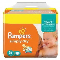 Pack 41 Couches Pampers Simply Dry taille 5 sur Tooly