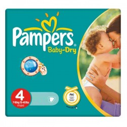Pack 44 Couches Pampers de la gamme Baby Dry taille 4 sur Tooly