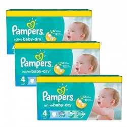 Mega pack 140 Couches Pampers Active Baby Dry taille 4 sur Tooly