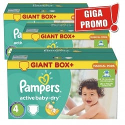 Giga pack 280 Couches Pampers Active Baby Dry taille 4 sur Tooly