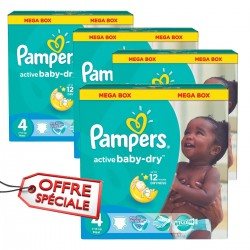 Maxi giga pack 350 Couches Pampers Active Baby Dry taille 4 sur Tooly