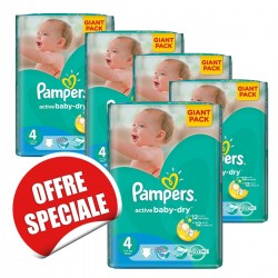 Maxi mega pack 420 Couches Pampers Active Baby Dry taille 4 sur Tooly