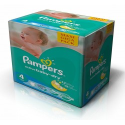 Maxi mega pack 490 Couches Pampers Active Baby Dry taille 4 sur Tooly
