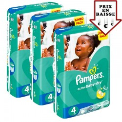 Pack jumeaux 560 Couches Pampers Active Baby Dry taille 4 sur Tooly