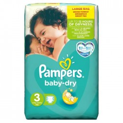 Pack 52 Couches Pampers de la gamme Baby Dry taille 3 sur Tooly