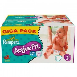 Maxi Pack 372 Couches Pampers de la gamme Active Fit taille 3 sur Tooly