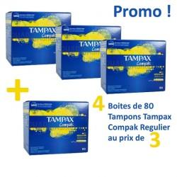 Pack économique 320 Tampons Tampax Compak - 4 au prix de 3 de taille regular avec applicateur sur Tooly