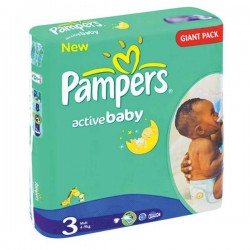 Pack 192 Couches Pampers de la gamme Active Baby taille 3 sur Tooly