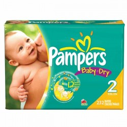 Pack économique 232 Couches Pampers Baby Dry taille 2 sur Tooly