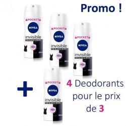 Pack économique 4 Deodorants Nivea Invisible Black and White - 4 au prix de 3 taille Pocket sur Tooly