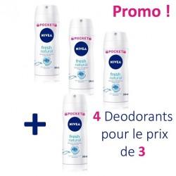 Maxi Pack 4 Deodorants Nivea Fresh Natural - 4 au prix de 3 de taille Pocket sur Tooly