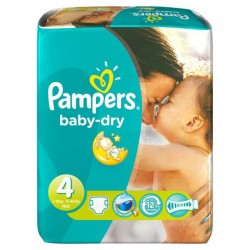 Pack 62 Couches Pampers Baby Dry taille 4 sur Tooly