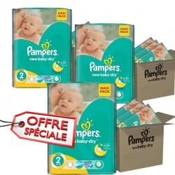 Gros pack jumeaux d'une quantité de 952 Couches Pampers New Baby Dry de taille 2 sur Tooly