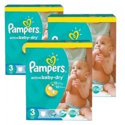 Pack économique 296 Couches Pampers de la gamme Active Baby Dry de taille 3 sur Tooly