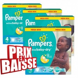Pack économique 290 Couches Pampers Active Baby Dry taille 4 sur Tooly