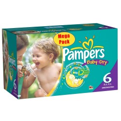 Maxi Mega pack 152 Couches Pampers Baby Dry taille 6+ sur Tooly