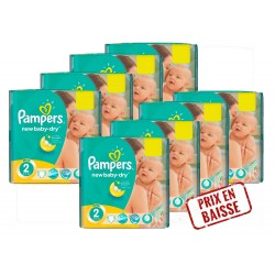 Pack économique 408 Couches Pampers New Baby Dry 2 sur Tooly