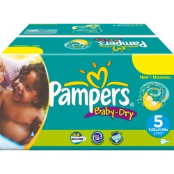 Pack économique 164 Couches Pampers Baby Dry taille 5 sur Tooly