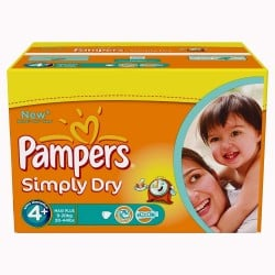 Mega Pack 528 Couches Pampers Simply Dry taille 4+ sur Tooly