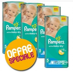 Pack économique 504 Couches Pampers Active Baby Dry taille 5 sur Tooly