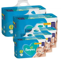 Pack jumeaux 658 Couches Pampers Active Baby Dry taille 2 sur Tooly
