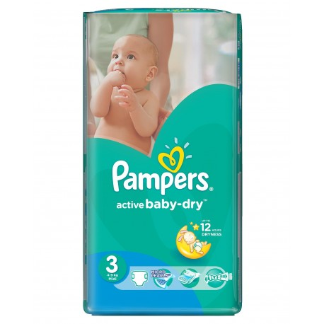 Pack 82 Couches Pampers Active Baby Dry taille 3 sur Tooly
