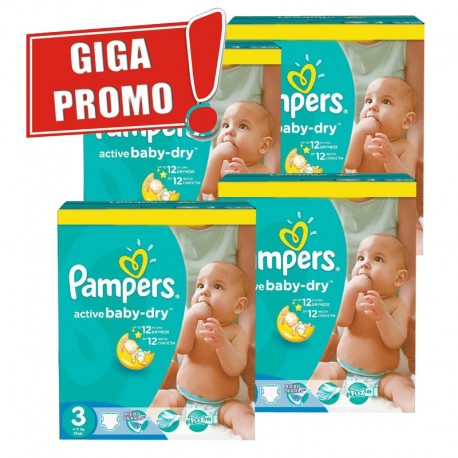 Mega pack 164 Couches Pampers Active Baby Dry taille 3 sur Tooly