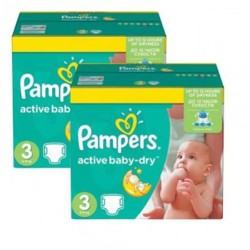 Maxi giga pack 328 Couches Pampers Active Baby Dry taille 3 sur Tooly