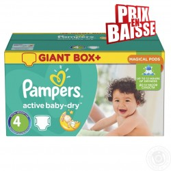 Pack jumeaux 700 Couches Pampers Active Baby Dry taille 4 sur Tooly