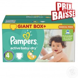 Pack jumeaux 910 Couches Pampers Active Baby Dry taille 4 sur Tooly