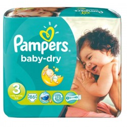 Mega pack 116 Couches Pampers Baby Dry taille 3 sur Tooly