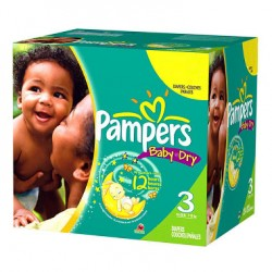 Pack jumeaux 696 Couches Pampers Baby Dry taille 3 sur Tooly