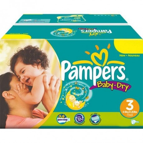 Pack jumeaux 812 Couches Pampers Baby Dry taille 3 sur Tooly