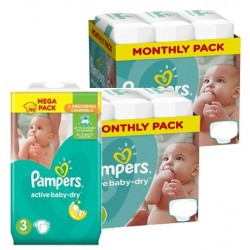 Pack 45 Couches Pampers Active Baby Dry taille 3 sur Tooly