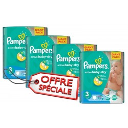 Mega pack 120 Couches Pampers Active Baby Dry taille 3 sur Tooly
