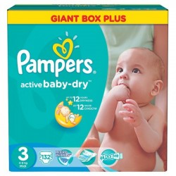Mega pack 135 Couches Pampers Active Baby Dry taille 3 sur Tooly