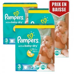Mega pack 180 Couches Pampers Active Baby Dry taille 3 sur Tooly