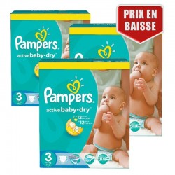 Mega pack 195 Couches Pampers Active Baby Dry taille 3 sur Tooly