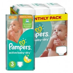 Giga pack 255 Couches Pampers Active Baby Dry taille 3 sur Tooly