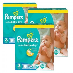 Giga pack 270 Couches Pampers Active Baby Dry taille 3 sur Tooly