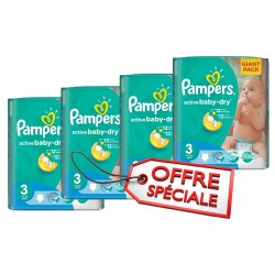Maxi giga pack 300 Couches Pampers Active Baby Dry taille 3 sur Tooly