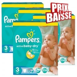 Maxi giga pack 315 Couches Pampers Active Baby Dry taille 3 sur Tooly