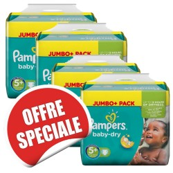 Pack jumeaux 504 Couches Pampers Baby Dry taille 5+ sur Tooly