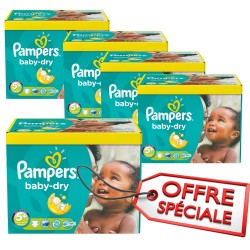 Pack jumeaux 672 Couches Pampers Baby Dry taille 5+ sur Tooly
