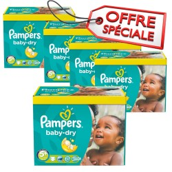 Pack jumeaux 756 Couches Pampers Baby Dry taille 5+ sur Tooly
