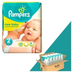 Pack jumeaux 1152 Couches Pampers New Baby Dry taille 2 sur Tooly