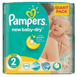 Pack jumeaux 1440 Couches Pampers New Baby Dry taille 2 sur Tooly