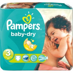 Pack jumeaux 1160 Couches Pampers Baby Dry taille 3