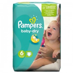 Pack 96 Couches Pampers Baby Dry taille 6 sur Tooly