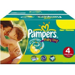 Pack 50 Couches Pampers Baby Dry taille 4 sur Tooly